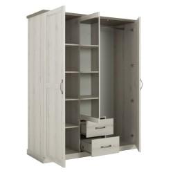 Kleiderschrank CHAMONIX 3 Türen 2 Schubladen  - 4