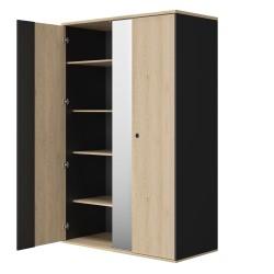 Armoire DUPLEX 2 portes 1 miroir,Armoire, Chambre de Jeune,2