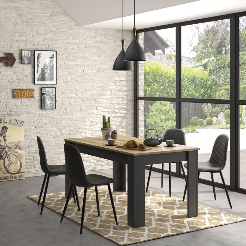 Table MANCHESTER,Tables, Salle à manger,Décor chêne et noir