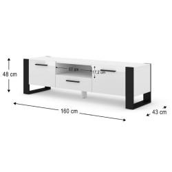 Banc TV Nuka 160cm Blanc  - 4