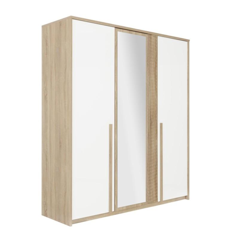 Armoire Curtys 3 portes,Armoire, Chambre à coucher,1 miroir en