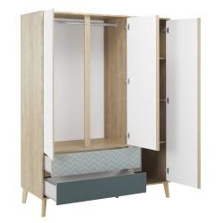 Armoire Larvik,Armoire, Chambre à coucher,3 façades portes